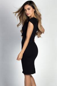 """Cyra"" Black Short Sleeve Cut Out Ponte Midi Dress image"