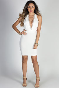 """Above & Beyond"" Ivory White Eyelash Lace Cut Out Cocktail Dress image"