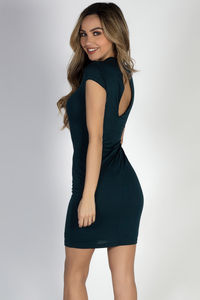 """Stepping Out"" Hunter Green Plunging Lace Up Short Sleeve Dress image"
