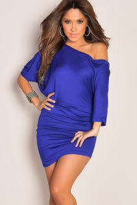 """""""Courtney"""" Royal Blue Sexy Off the Shoulder T-Shirt Dress image"""