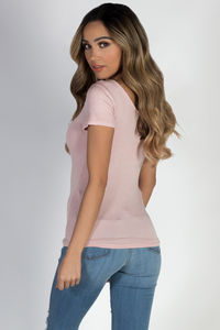 """""""Pure Bliss"""" Blossom Crisscross Rounded Short Sleeve Top image"""