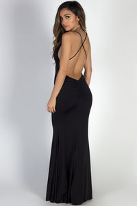 """Moon River"" Black Strappy Backless Mermaid Maxi Gown image"