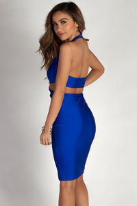 """Boo'd Up"" Royal Blue Open Back Buckle Cut Out Midi Dress image"