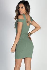 """""""Day & Night"""" Sage Strappy Back Short Sleeve Cold Shoulder Dress image"""