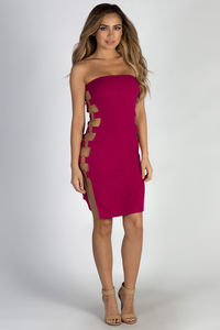"""""""Out The Bag"""" Plum Strapless Ring Side Dress image"""