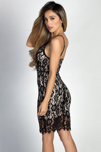 """Delaney"" Black Strappy Lace Bodycon Sheath Dress image"