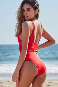 Kandy Red Side Lace Up One Piece Swimsuit image