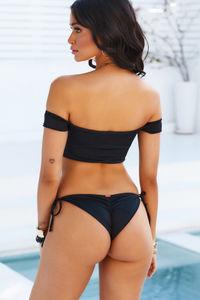 Black Off Shoulder Bikini Top image