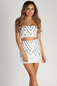 """Get Off My Cloud"" White & Silver Sequin Tube Top & Mini Skirt image"