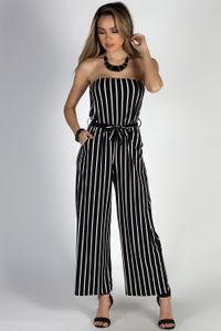 """Effortless"" Black & White Stripes Strapless Wide Leg Jumpsuit image"