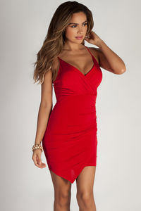 """""""Ask About Me"""" Red Spaghetti Strap Draped Asymmetrical Mini Dress  image"""