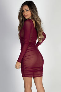 """Beautiful People"" Burgundy Ruched Long Sleeve Mesh Dress image"