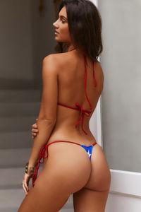 Patriotic Stars & Red Shimmer G-String Bikini Bottom image