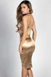 """Alyssa"" Gold Satin Bustier Cocktail Dress image"