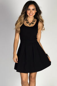 """""""Girl Code"""" Black Scoop Neck Sleeveless Cut Out Party Dress image"""