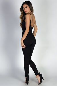 """""""Work it Out"""" Black Spaghetti Strap Jersey Catsuit Jumpsuit image"""