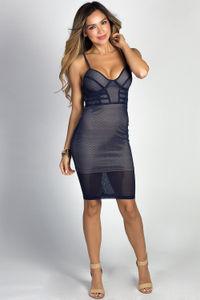 """Rowyn"" Navy Blue Spaghetti Strap Net Mesh Bustier Cocktail Dress image"