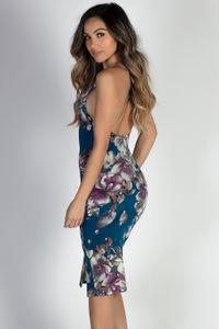 """Live It Up"" Teal Floral Print Strappy Midi Slip Dress image"