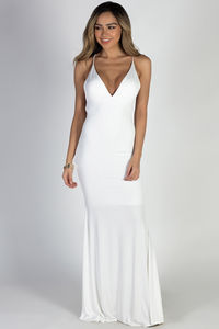 """""""Moon River"""" White Strappy Backless Mermaid Maxi Gown image"""
