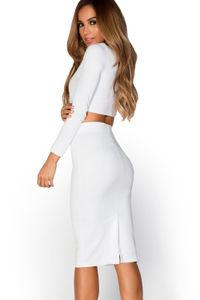 """Peyton"" Ivory White Knot-Front Long Sleeve Two Piece Dress Set image"