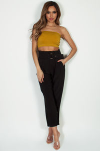 """Quality Time"" Black High Waisted Capris image"