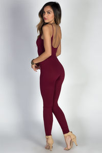 """""""Work it Out"""" Burgundy Spaghetti Strap Jersey Catsuit Jumpsuit image"""