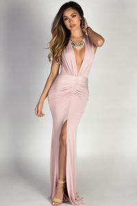 """""""Jessica"""" Blush Sleeveless Plunging Deep V Glam Maxi Dress image"""