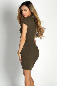 """Nicole"" Olive Green Ribbed Short Sleeve Bodycon Midi Dress image"