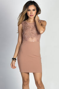"""Cerys"" Taupe Sheer Lace Bodice Tank Mini Dress image"