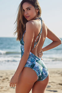 Lolita Tropical Palm V Neck Halter One Piece Swimsuit image