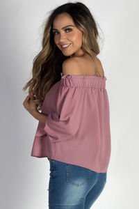 """Be Magical"" Mauve Off The Shoulder Top image"
