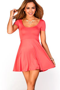 """Brynn"" Coral A-Line Empire Waist Casual Short Sleeve Dress image"