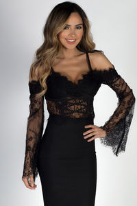 """""""Madame Butterfly"""" Black Lace Cold Shoulder Crop Top image"""