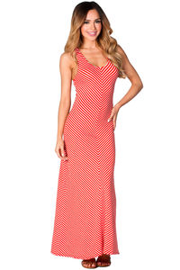 """""""Laurie"""" Red and White Striped Cute Casual Cross Back Tank Maxi Dress image"""