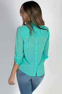 """""""Celena"""" Mint Long Sleeve Chiffon Blouse with Front Pockets image"""