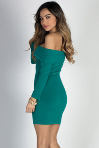 """Friday Night"" Emerald Green 3/4 Sleeve Off Shoulder Bodycon Mini Dress image"