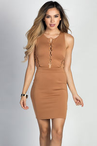 """Sage"" Tan Lace Up Cut Out Sleeveless Bodycon Sheath Dress image"