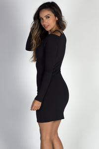 """""""Only Want You"""" Black Cold Shoulder Cut Out Bodycon Dress image"""
