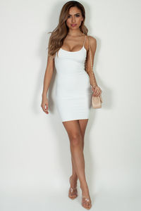 """All Or Nothing"" Off White Spaghetti Strap Mini Dress image"