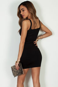"""Always On Time"" Black Layered Square Neck Mini Dress image"