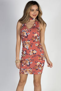 """Flawless Florals"" Cinnamon Floral Print Sleeveless Choker Dress image"