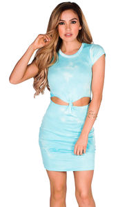 """Dulce"" Aqua Tie Dye Short Sleeve Ribbed Jersey Cut Out Dress image"