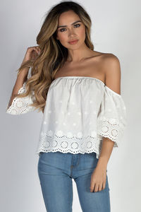 """""""Sun and Sand"""" White Off Shoulder Crochet Crop Top image"""