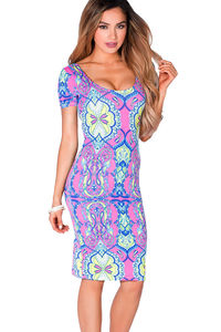 """Inez"" Pink & Lime Print Short Sleeve Jersey Bodycon Casual Dress image"