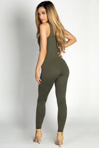 """Aaliyah"" Olive Green Jersey Tank Catsuit Jumpsuit image"