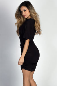 """Hannah"" Black Dolman Sleeve Ruched Jersey Dress image"