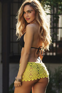 Cuba Libre Yellow Mini Crochet Sexy Sarong Beach Cover Up image