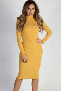 """One Step Ahead"" Mustard Yellow And White Striped Lettuce Hem Mock Neck Dress image"