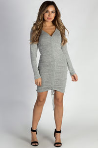 """""""Tokyo Love"""" Heather Grey Ruched Brushed Hacci Dress image"""