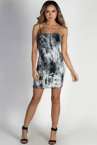 """Nirvana"" Black & White Tie Dye Smocked Mini Dress image"